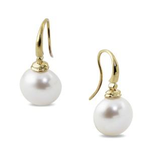 9K Yellow Gold Button Pearl Drop Earrings