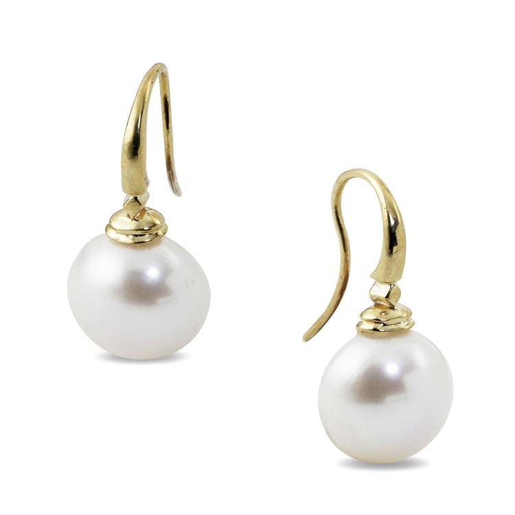 9K Yellow Gold Button Pearl Drop Earrings