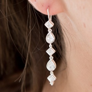 Silver and CZ Midnight Earrings