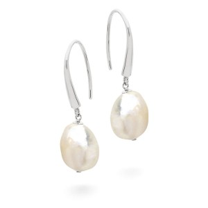 Silver Baroque Pearl Long Drop Earrings