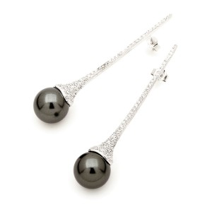 Silver Pave Set Long Drop Shell Pearl Studs