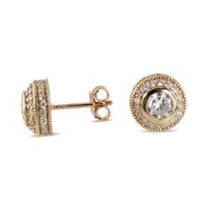Designer double halo of cubic zirconia sterling silver studs