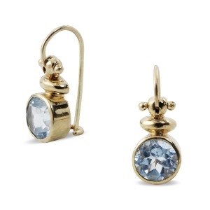 9K Yellow Gold Blue Topaz Earrings