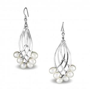 Silver Pearl Fan Earrings