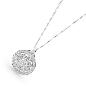 Sterling Silver Cz Encrusted Multi Stone Pendant Necklace