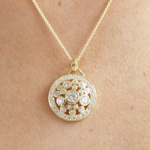 Silver yellow gold Plate cz Encrusted Multi Stone Pendant Necklace