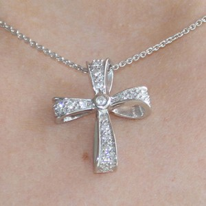 925 Sterling Silver stone encrusted Cross Pendant