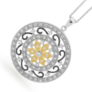 Exotic Tri Colour 925 Sterling Silver Arabesque Pendant