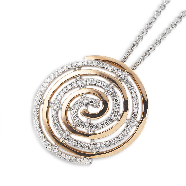 9K Rose Gold And Diamond Swirl Pendant