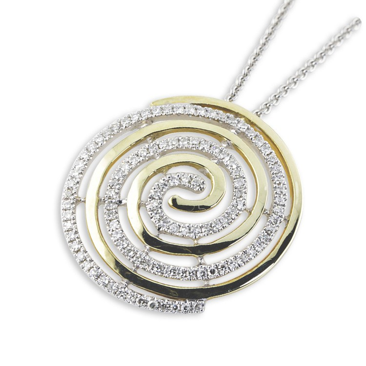 9K Yellow Gold And Diamond Swirl Pendant