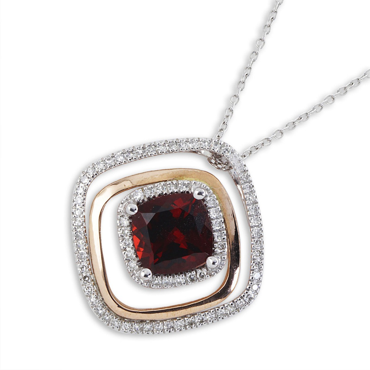 9bd8d1bed Jewellery Domain   9K Rose And White Gold Garnet And Diamond ...