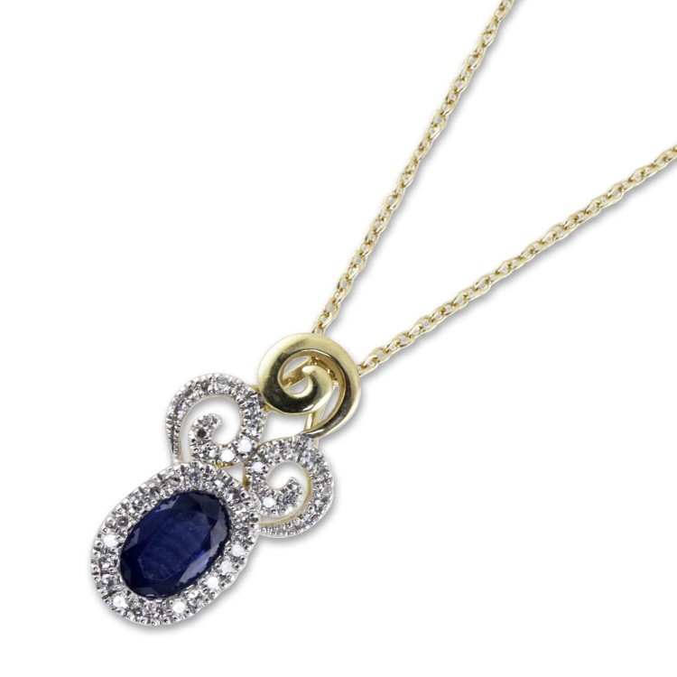9K Yellow Gold Blue Sapphire And Diamond Necklace