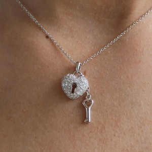 925 Sterling Silver key to my heart pendant