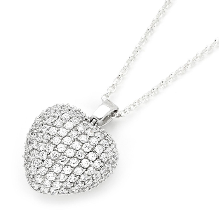925 Sterling Silver Pave Puffed Heart Pendant