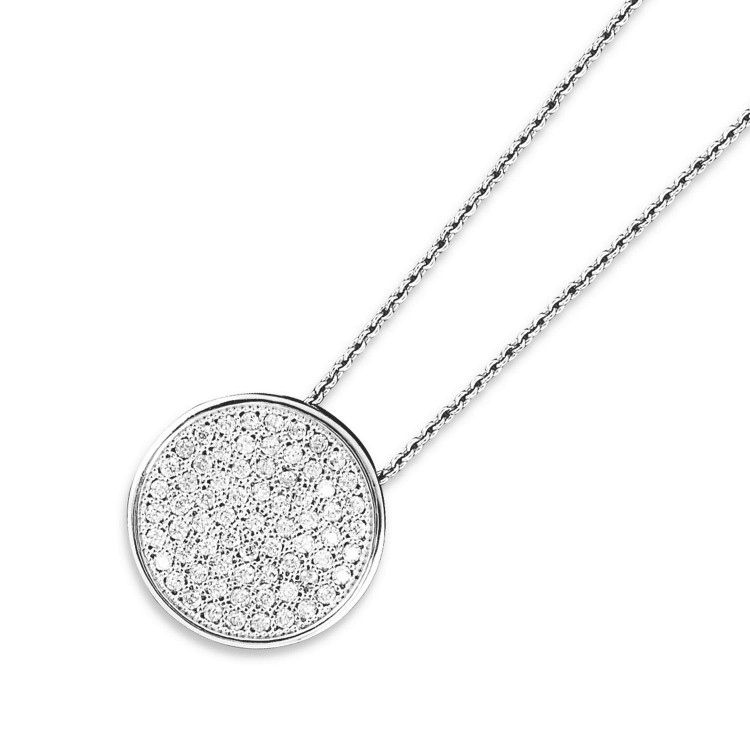 925 Sterling Silver Round Pave Disk Necklace