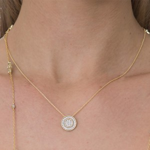 Silver Yellow Gold Plate Circle Disk Pendant Necklace