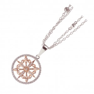 Sterling Silver Rose Gold Downton Abbey Necklace