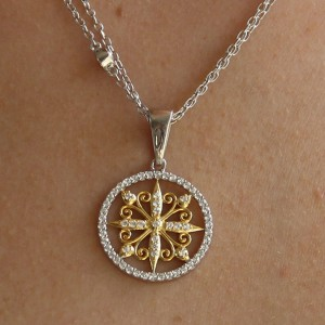 Silver yellow gold Plate Downton Abbey Necklace