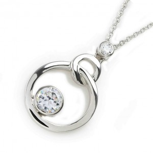 925 Sterling Silver and CZ Double Disk Necklace
