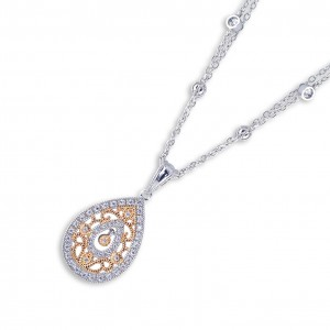 925 Sterling Silver 2tone Rose Gold Filigree Tear Drop Necklace