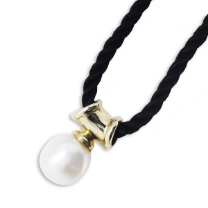 9K Yellow Gold Natural Baroque Pearl on gold Bale And Black Silk Cord Necklace