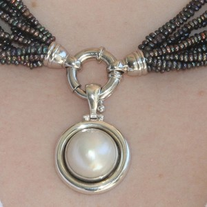 925 Sterling Silver Round South Sea Mabe Pearl Pendant