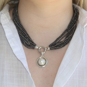 Multi strand natural seed pearl necklace