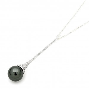 Sterling Silver And Grey Shell Pearl Needle Pendant
