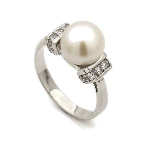 Sterling Silver Cz And Natural Pearl Ring