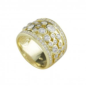 Silver Yellow Gold Plate Multi Cubic Zirconia Set Ring