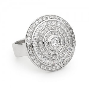Silver Multi Circle Channel Set Zirconia Ring