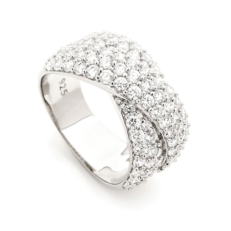 Elaborate Silver Cz Encrusted Dress Ring