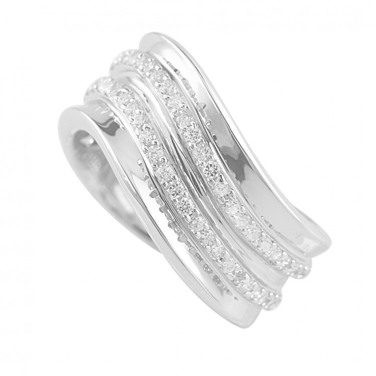 Contemporary Silver Cz Flow Ring