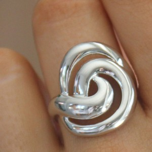 Contemporary Sterling Silver Ring With Swirls