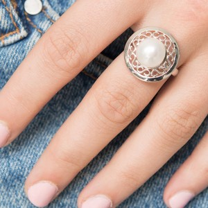 Contemporary Silver Pearl And Filigree Ring