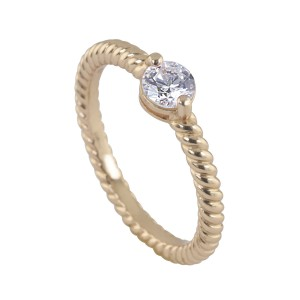 Silver Rgp Floating Solitaire Stacker Ring