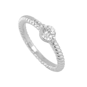 Silver Floating Solitaire Stacker Ring