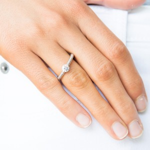 Silver Ygp Floating Solitaire Stacker Ring
