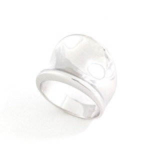 Modern Silver Low Dome Ring