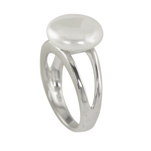 Silver Natural Coin Pearl Ring