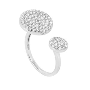 Silver Crystal Orb Ring