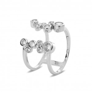 Silver Cubic Encrusted Open Band Ring