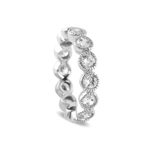 Silver Cubic Zirconia Stacker Ring