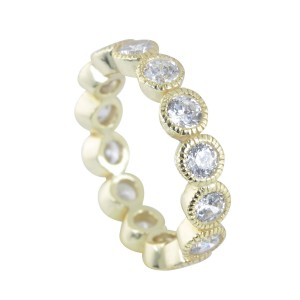 Silver Yellow Gold Plate Cubic Stacker Ring