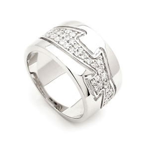 Sterling Silver Cz Wave Ring