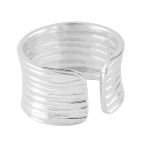 Silver Textured Open Band Ring