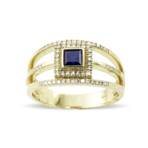Blue Sapphire and yellow gold diamond ring