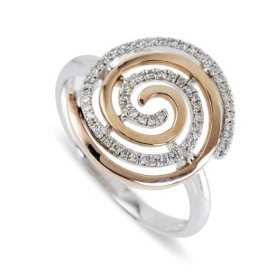 9K Rose Gold Diamond Swirl Ring