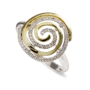 9K Yellow Gold Diamond Swirl Ring
