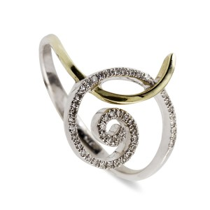 Diamond Encrusted Swirl Ring
